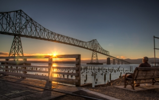 Photo of the Astoria–Megler Bridge at Dusk from the edge of Downtown Astoria, Oregon.